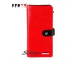 Portofel pentru femei KARYA din piele naturală combinată roșu-negru Turcia