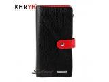 Portofel pentru femei KARYA din piele naturală combinată negru-roșu Turcia