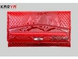Portofel pentru femei KARYA din piele naturală roșie lacuit (Turcia)